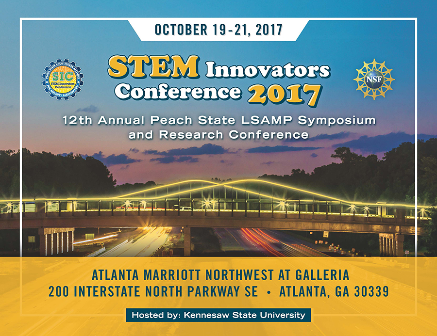 Peach State Louis Stokes Alliance for Minority Participation (PSLSAMP) STEM Innovators Conference 2017 will be held on October 19-21, 2017, hosted by Kennesaw State University