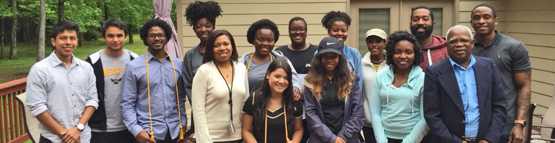 Group photo of Peach State Louis Stokes Alliance for Minority Participation (PSLSAMP) - Kennesaw campus Faculty and Students